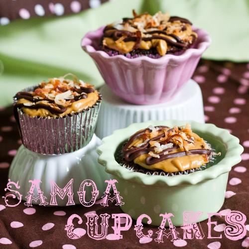 tiers of samoa cupcakes