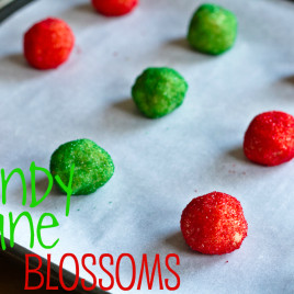 balls of dough for candy cane blossoms