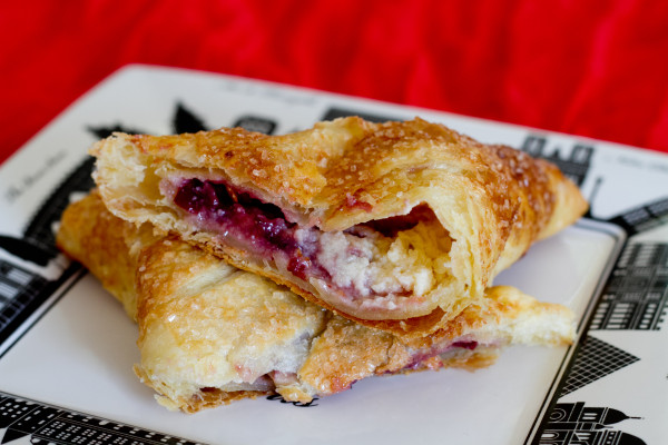 Sweetened Cream Cheese and Cherry Jam Turnovers