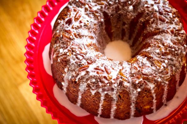 Banana Pineapple Bundt Cake with Coconut Rum Glaze