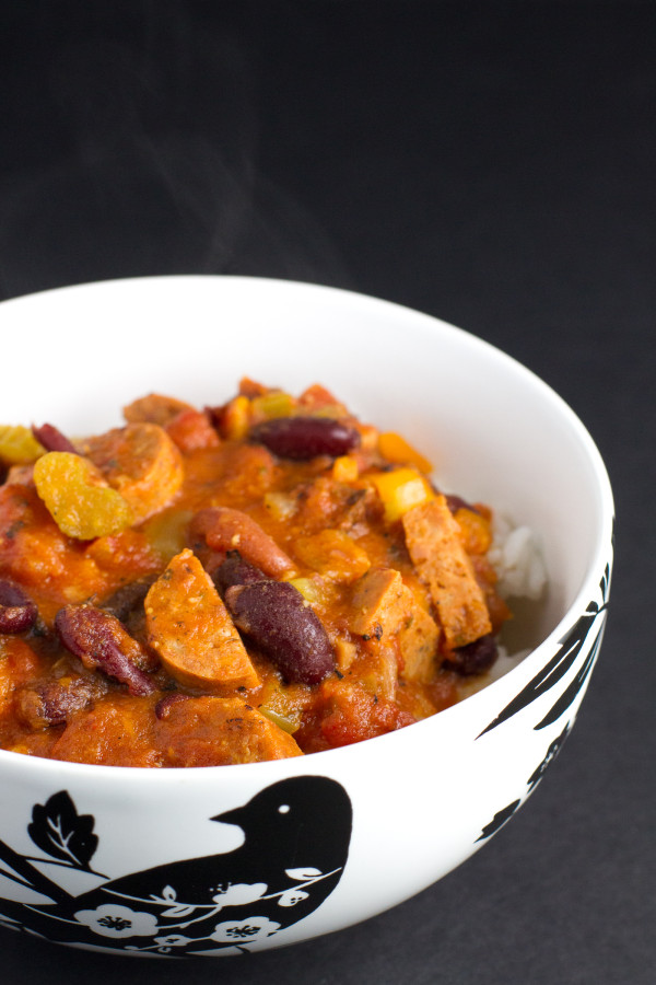 red beans and rice with chicken Andouille sausage