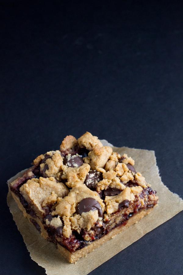 chocolate chip peanut butter jam bars