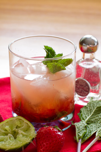 Strawberry Mint Tequila Smash Cocktail