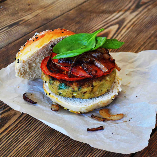 Spinach Feta Veggie Burgers with Crispy Fried Onions and Roasted Tomatoes from Bakeaholic Mama