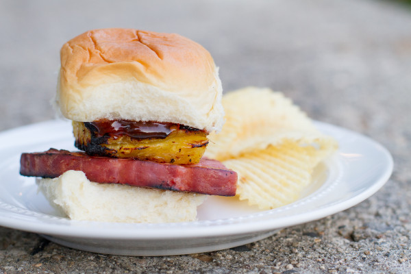 Grilled Ham and Pineapple Slider - Poet in the Pantry