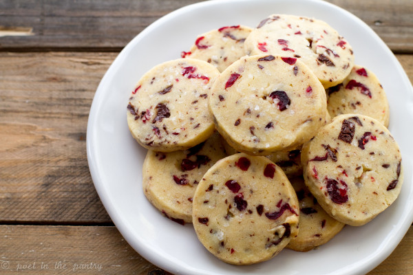 Chocolate Cranberry Shortbread Cookies - Poet in the Pantry
