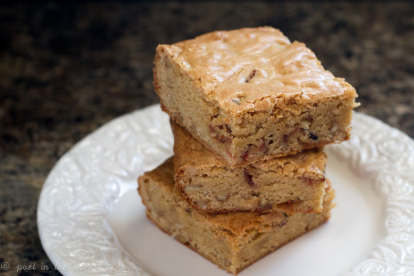 Maple Bourbon Bacon Blondies - Poet in the Pantry