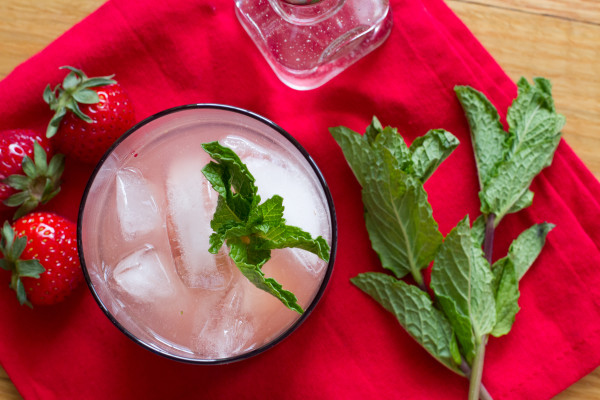 Strawberry Mint Tequila Smash