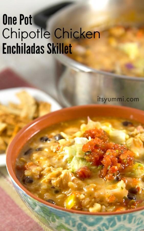 Chipotle Chicken Enchiladas Skillet ~ It's Yummi