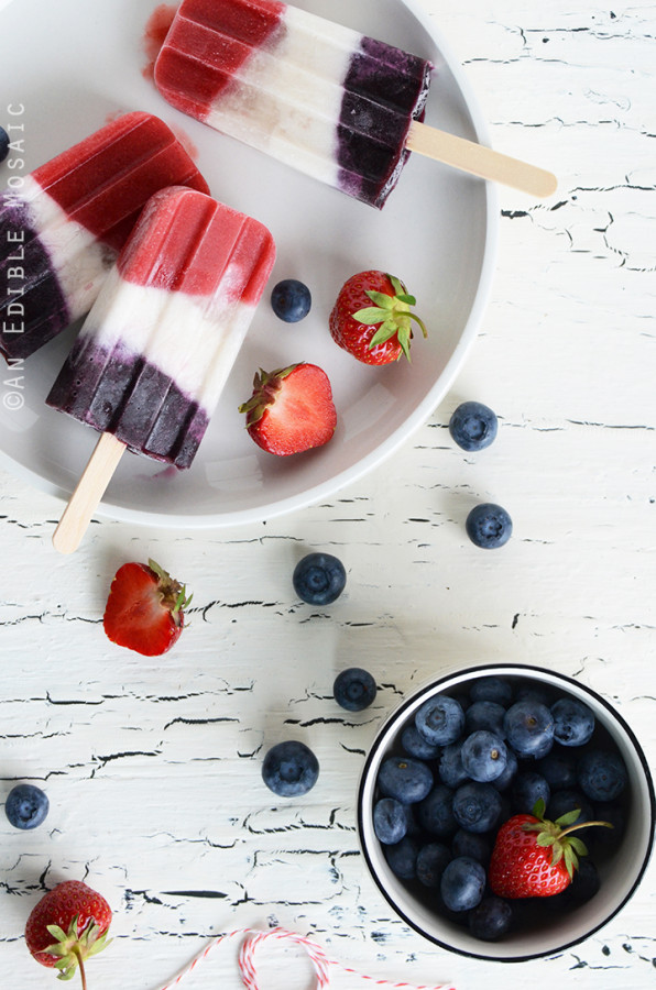 Red White & Blue Double Berry Coconut Pops from An Edible Mosaic