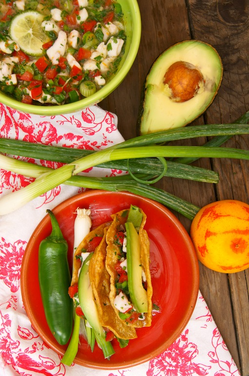 Blood Orange Halibut Ceviche Tacos ~ Cooking on the Weekends
