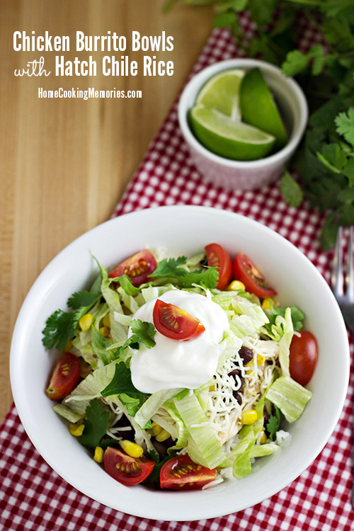 Chicken Burrito Bowls with Hatch Chile Rice ~ Home Cooking Memories