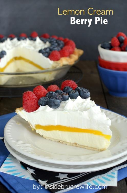 Lemon Cream Berry Pie from Inside BruCrew Life