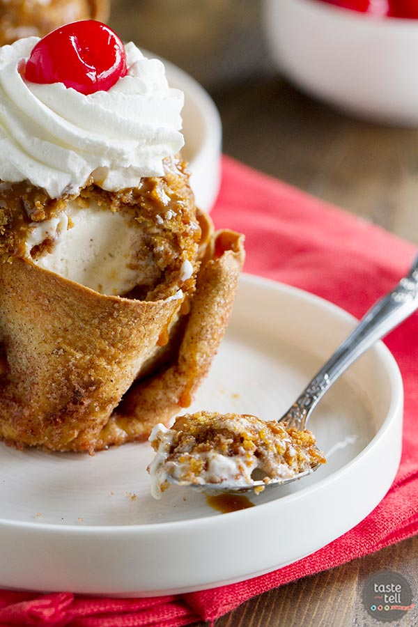 Fried Ice Cream with Cinnamon Sugar Tortilla Bowls ~ Taste and Tell