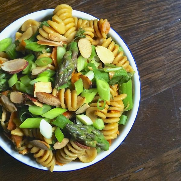 Asparagus Pasta Salad with Creamy Peanut Dressing from The Lemon Bowl