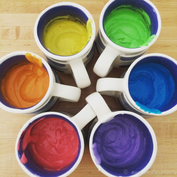 coffee mugs are just about the right size for dividing up your batter for a rainbow cake or cupcakes