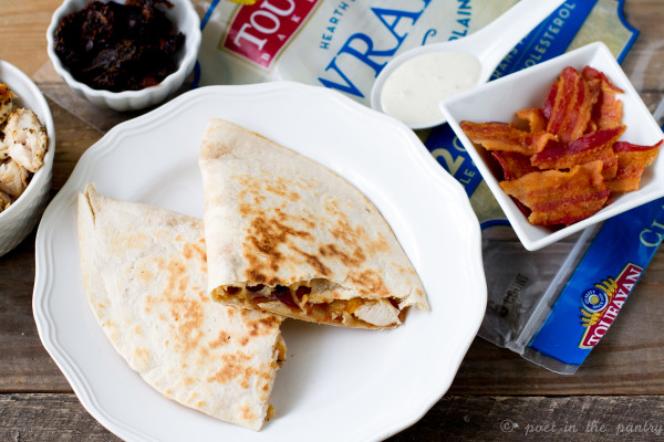 Chicken Bacon Ranch Quesadillas are a quick and easy weeknight meal! Toufayan Classic Plain wraps put them over the top!