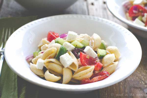 Greek Pasta Salad featuring Nikos Traditional Feta is an easy dish to bring to all your summer parties and picnics!
