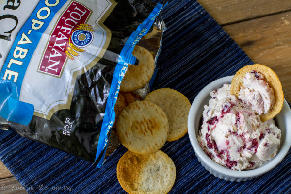Try scooping up some Cranberry Horseradish Cream Cheese with Walnuts with Toufayan Bakeries Scoop-able Pita Chips--you'll love it!