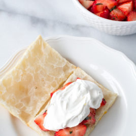 Basil Strawberry Pastry Puffs are a riff off the familiar strawberry shortcake, with an elegant update. {sponsored post}