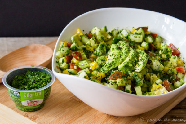 Avocado Salad with Cilantro Lime Vinaigrette is the perfect summer salad, made better with Gourmet Garden lightly dried Cilantro {sponsored post}