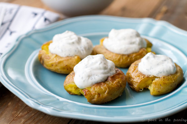 Smashed Potatoes with Dill Sour Cream Topping
