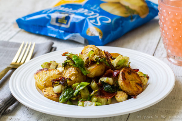 Pan-Roasted Maple Dijon Potatoes and Brussels Sprouts with Bacon {sponsored}