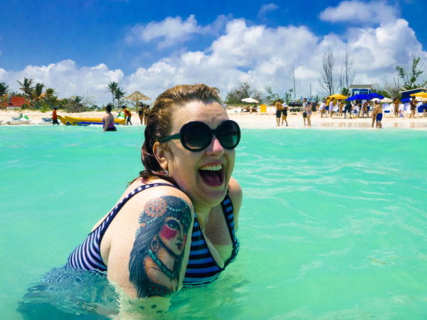 Stephanie swimming at the private beach on Freeport, Bahamas