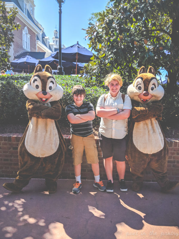 Chip and Dale and my kids at Epcot
