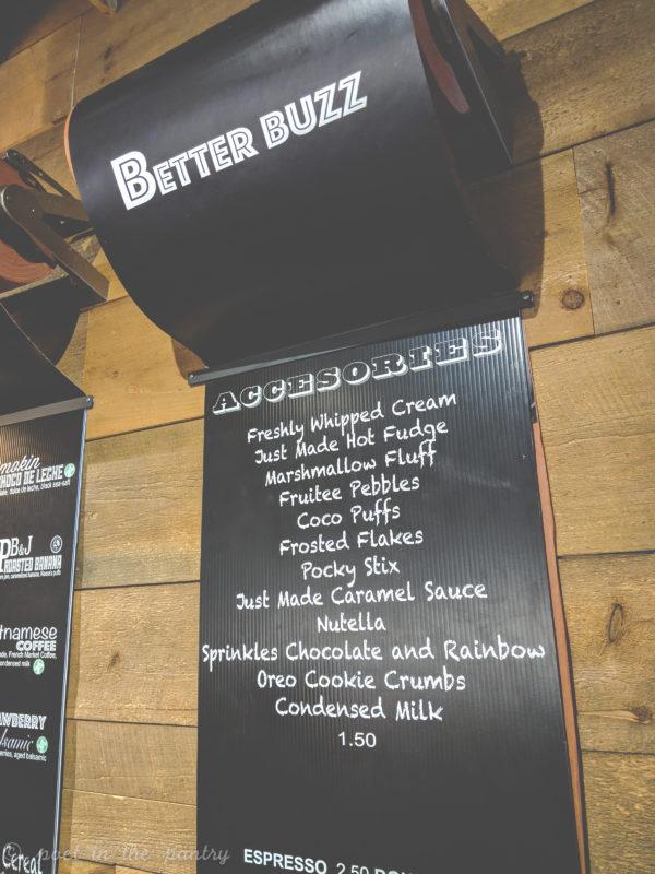 Toppings menu at Milkcraft, West Hartford