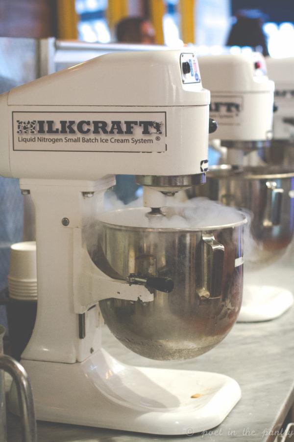 Mixers making ice cream as you wait at Milkcraft, West Hartford, utilizing ice cream base and liquid nitrogen.