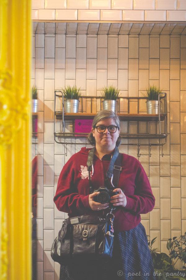 Selfie in the large mirror at Milkcraft, West Hartford