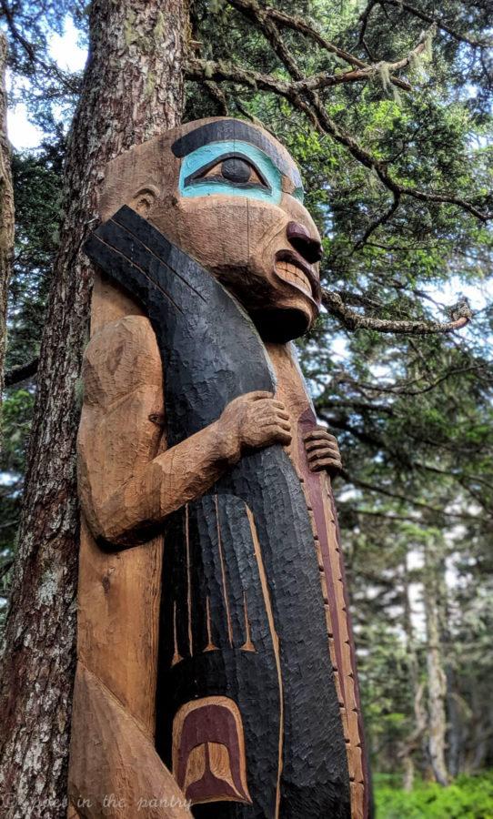 A totem at the top of Mount Roberts, Juneau, Alaska